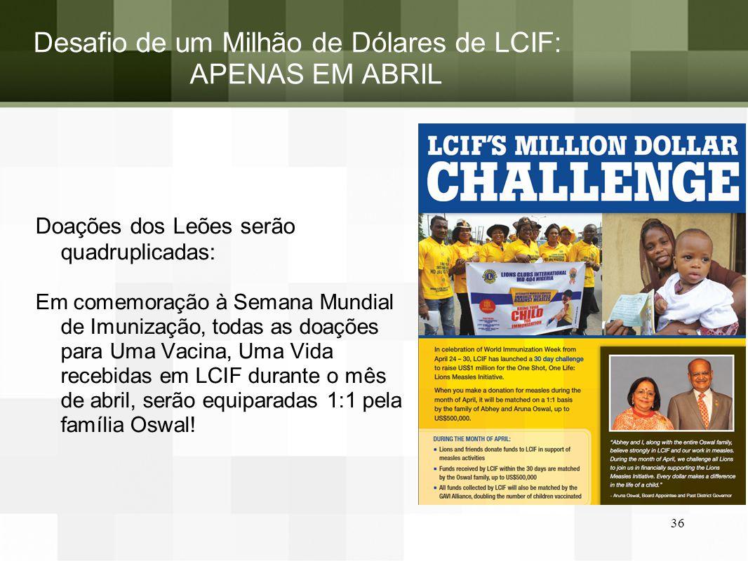Desafio de um Milhão de Dólares de LCIF: APENAS EM ABRIL