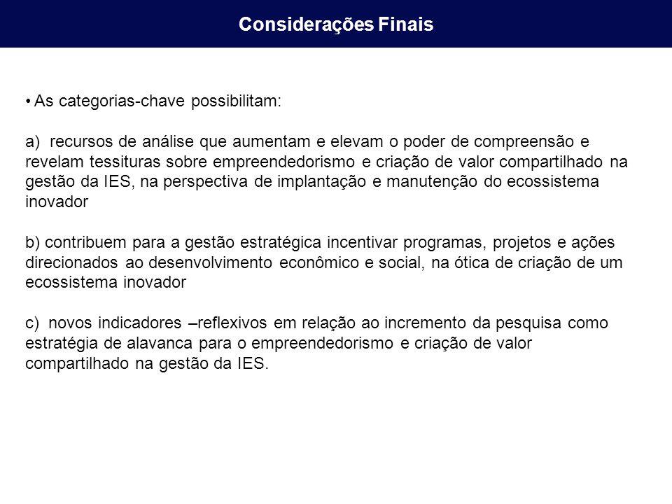 Considerações Finais As categorias-chave possibilitam: