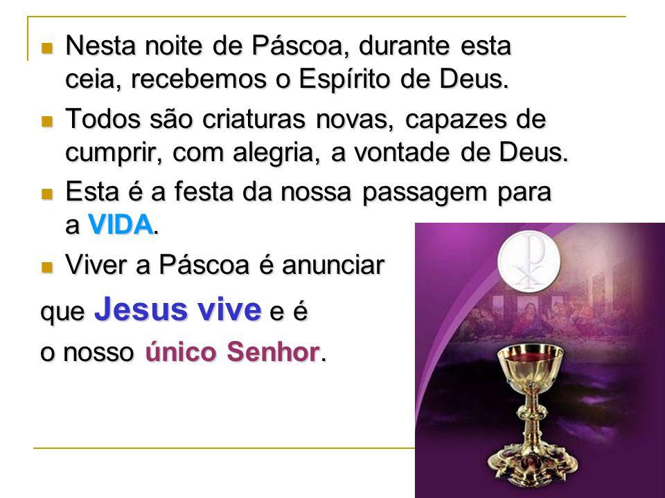 Nesta noite de Páscoa, durante esta ceia, recebemos o Espírito de Deus.