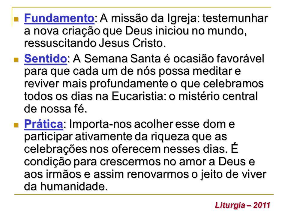 Fundamento: A missão da Igreja: testemunhar a nova criação que Deus iniciou no mundo, ressuscitando Jesus Cristo.