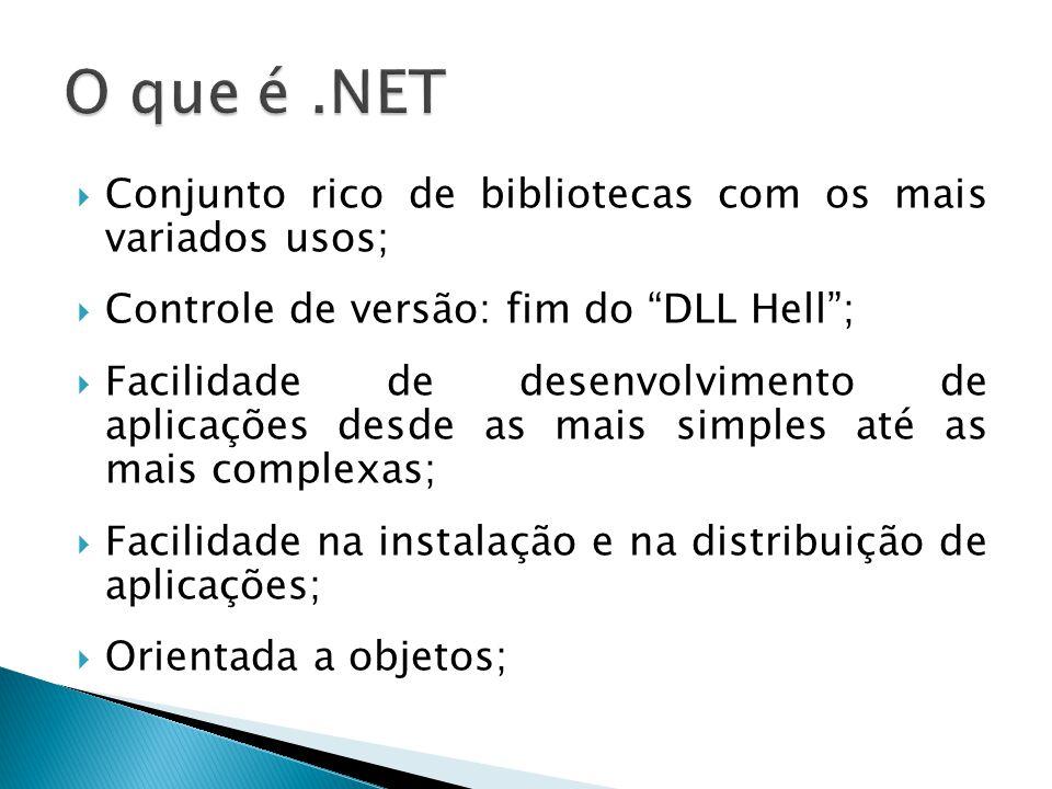 O que é .NET Conjunto rico de bibliotecas com os mais variados usos;
