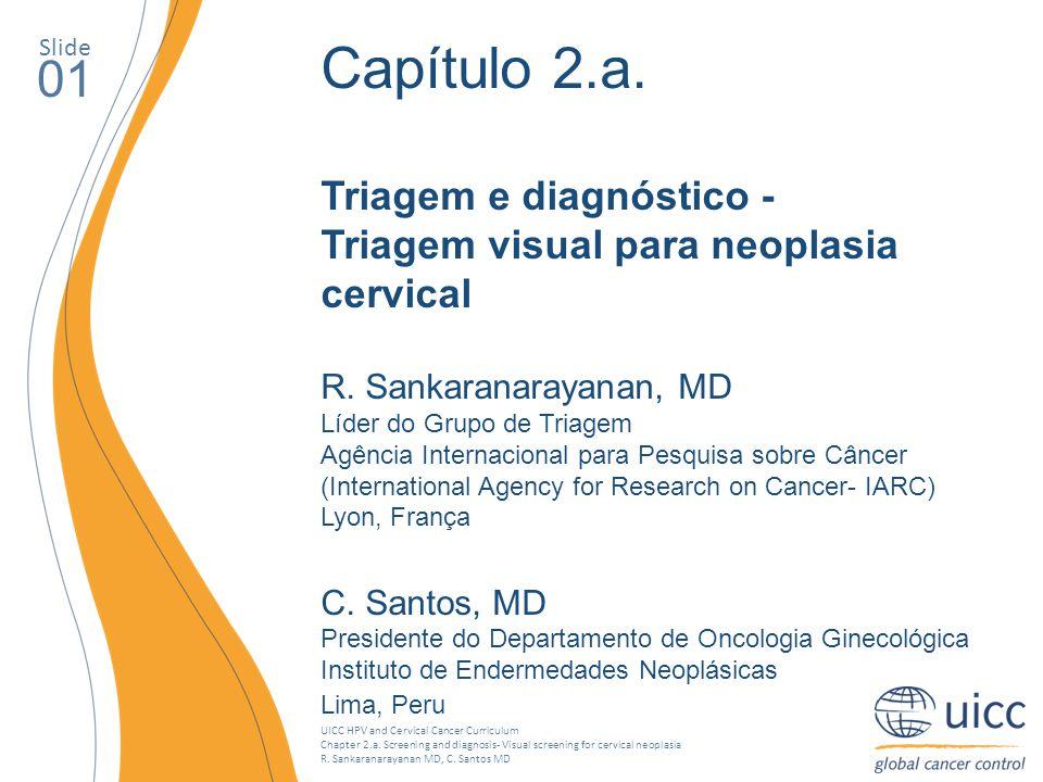 Slide Capítulo 2.a. Triagem e diagnóstico - Triagem visual para neoplasia cervical. R. Sankaranarayanan, MD.