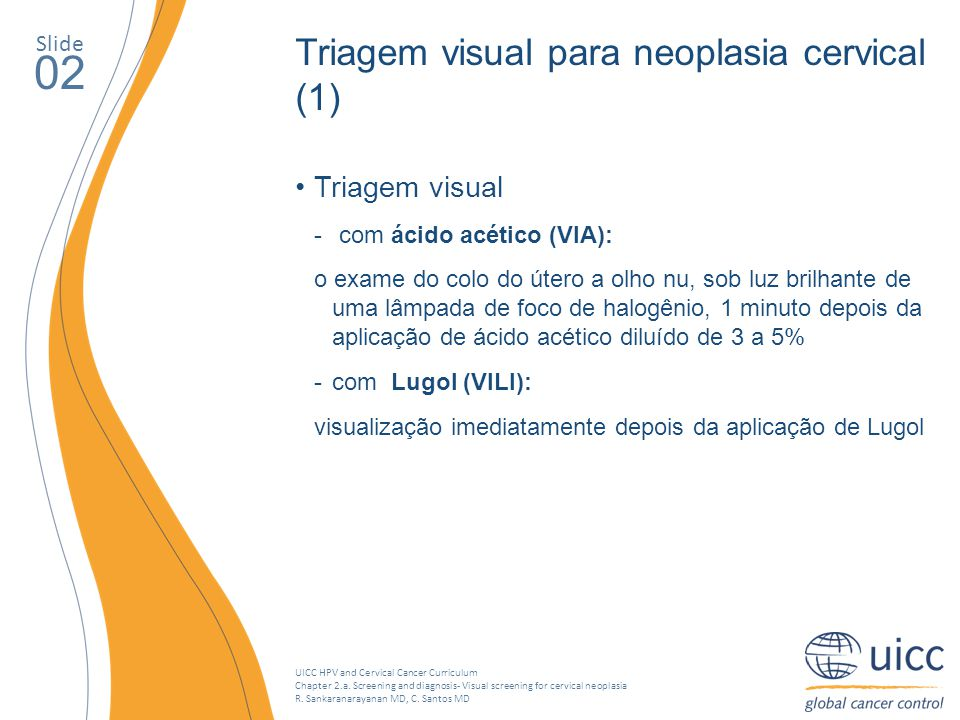 02 Triagem visual para neoplasia cervical (1) Triagem visual Slide