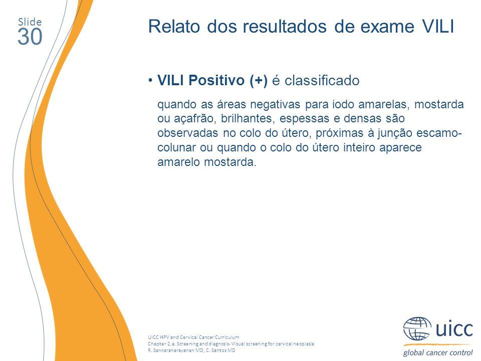30 Relato dos resultados de exame VILI
