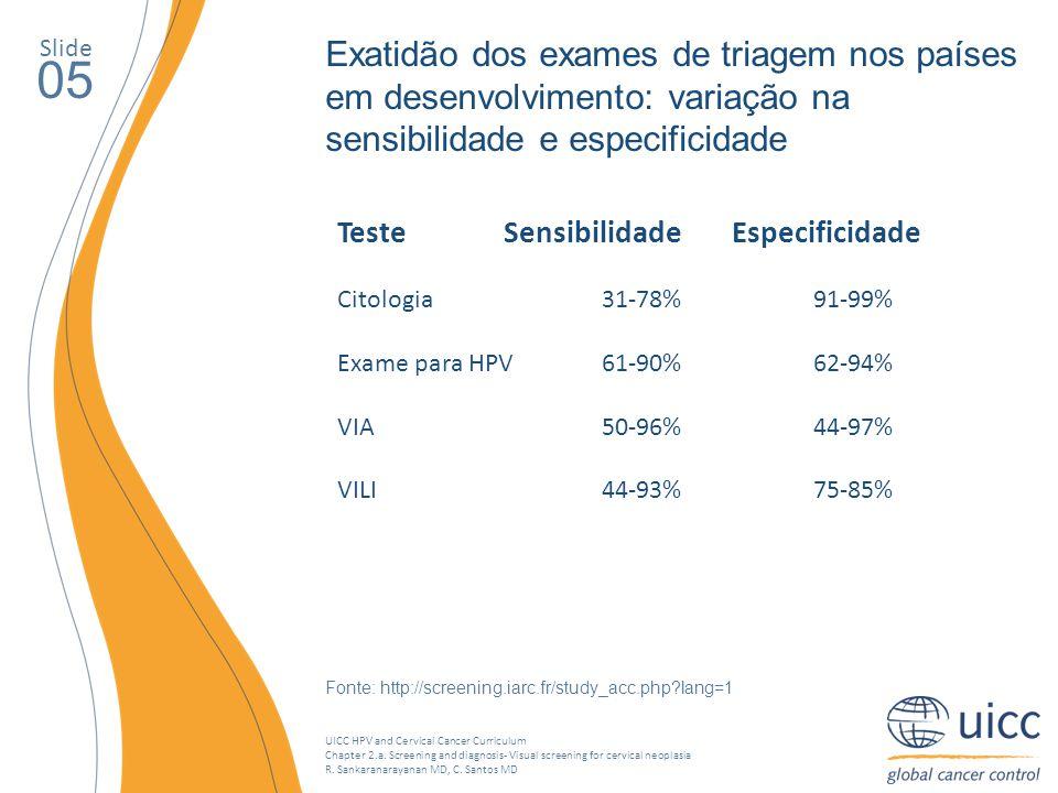 Slide Exatidão dos exames de triagem nos países em desenvolvimento: variação na sensibilidade e especificidade.
