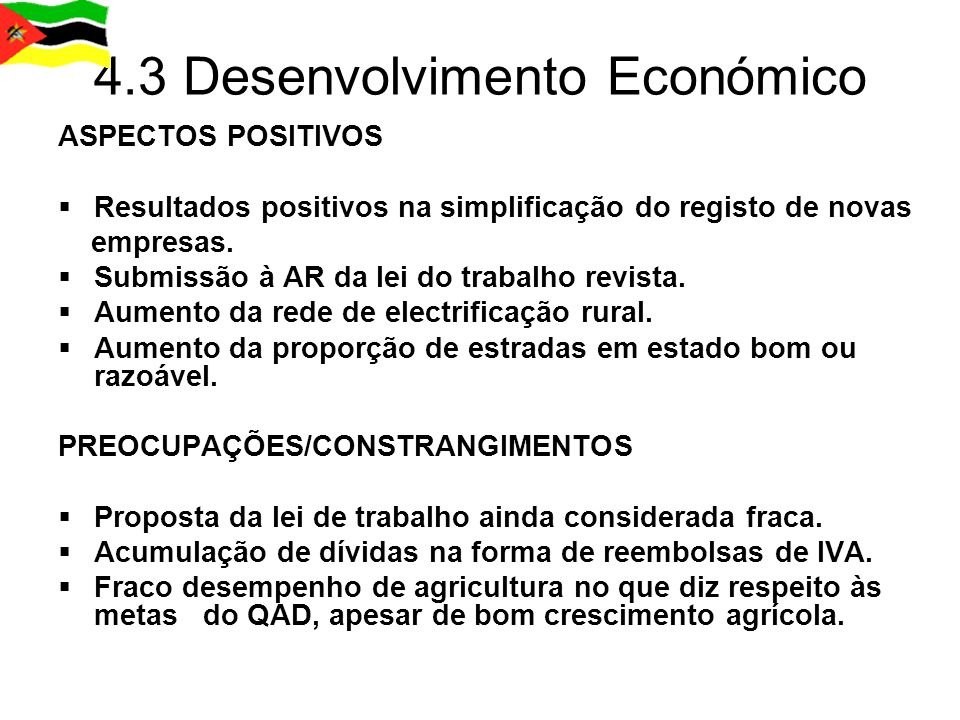 4.3 Desenvolvimento Económico