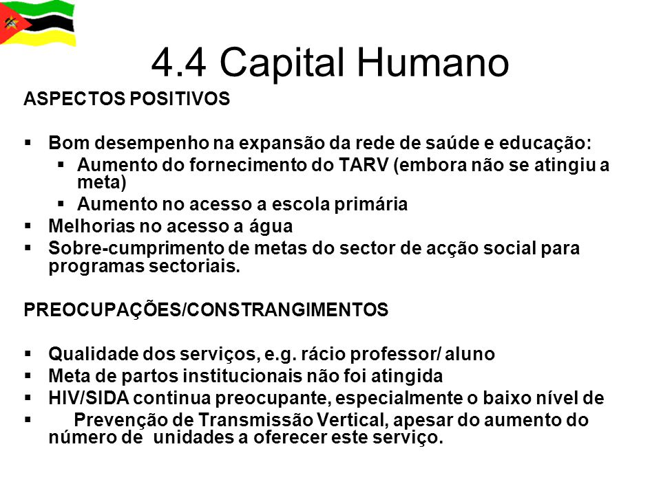 4.4 Capital Humano ASPECTOS POSITIVOS