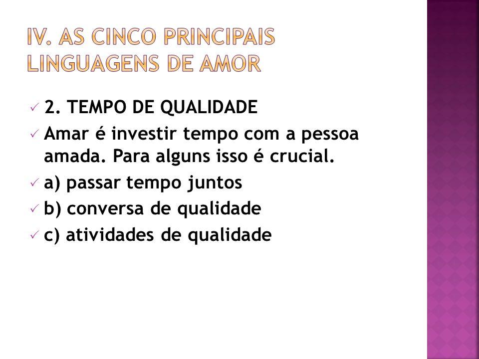 IV. AS CINCO PRINCIPAIS LINGUAGENS DE AMOR