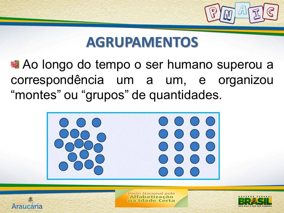 AGRUPAMENTOS Ao longo do tempo o ser humano superou a correspondência um a um, e organizou montes ou grupos de quantidades.