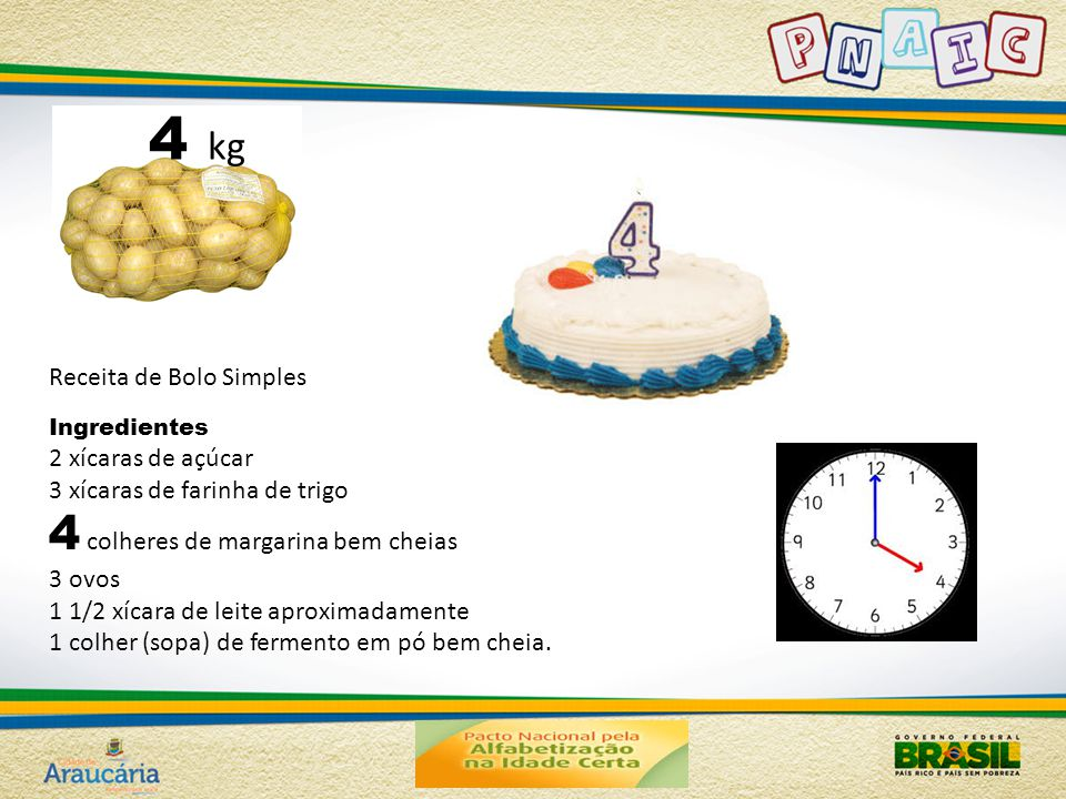 4 kg 4 colheres de margarina bem cheias Receita de Bolo Simples