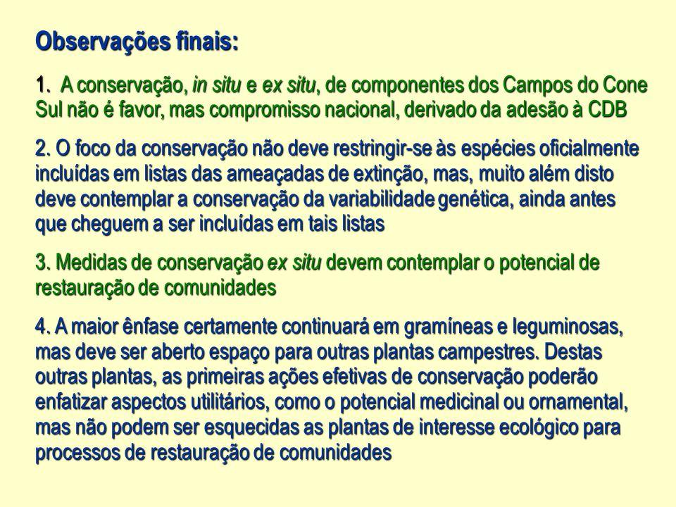 Observações finais: A conservação, in situ e ex situ, de componentes dos Campos do Cone.