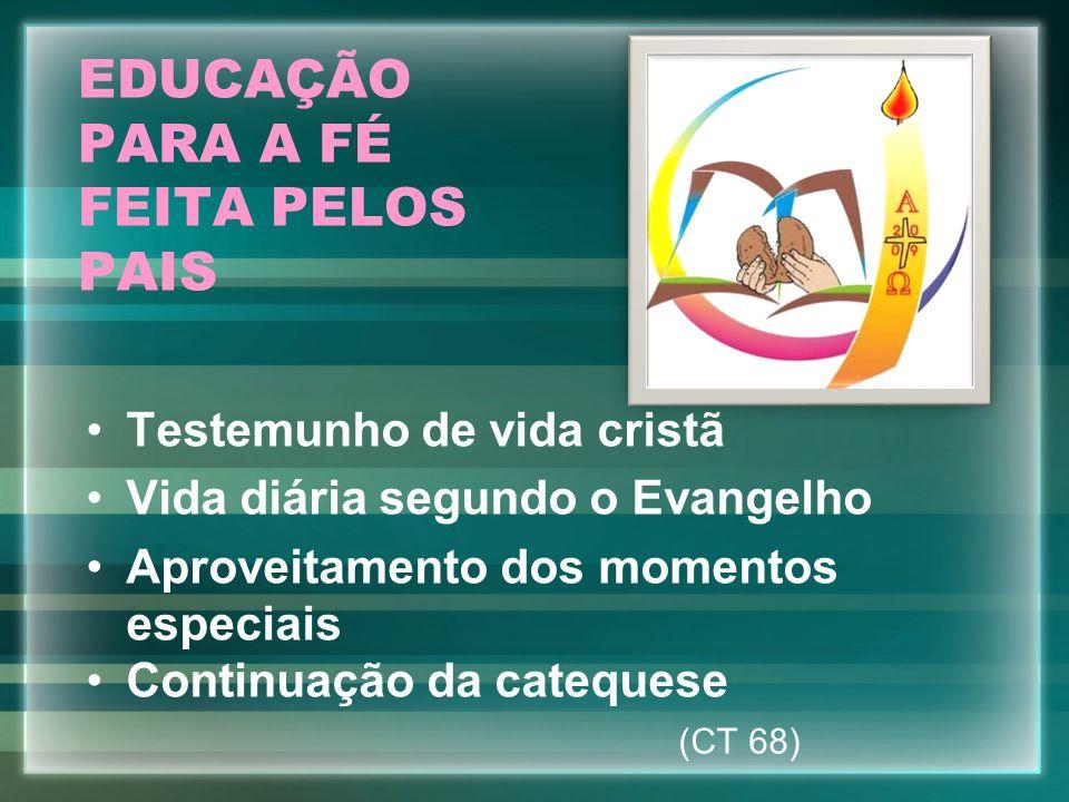 EDUCAÇÃO PARA A FÉ FEITA PELOS PAIS