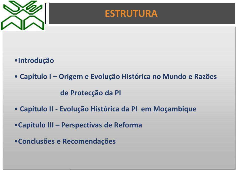 ESTRUTURA Introdução. Capítulo I – Origem e Evolução Histórica no Mundo e Razões. de Protecção da PI.