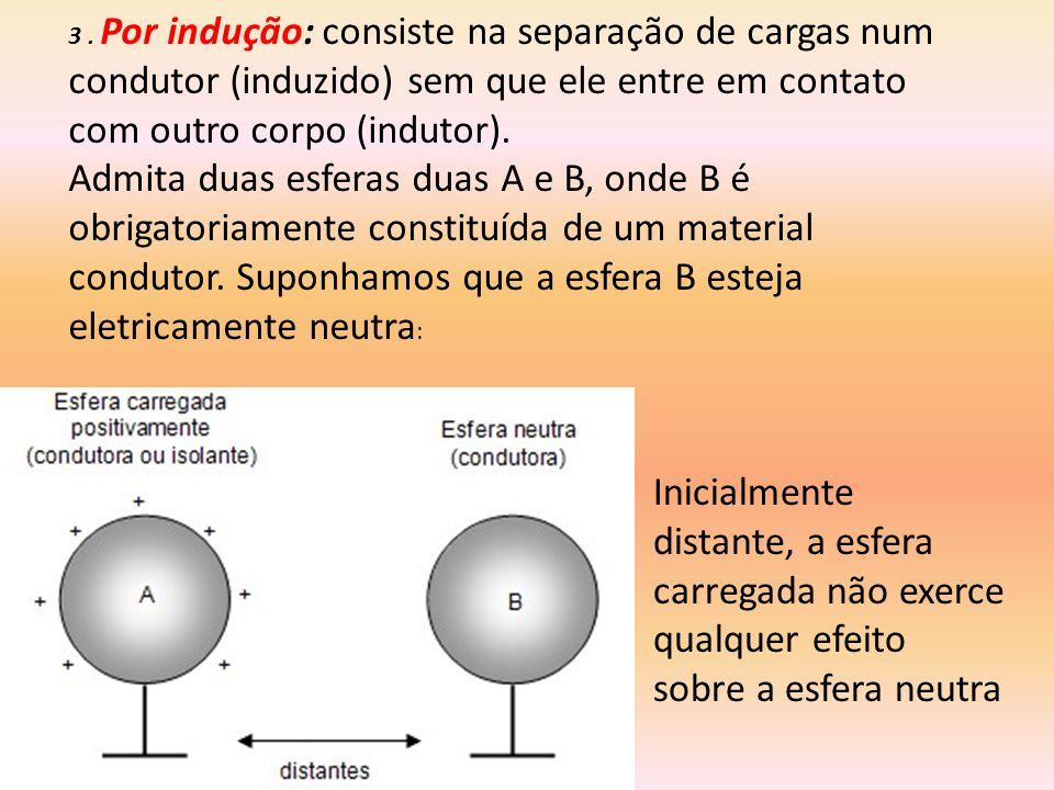 3 . Por indução: consiste na separação de cargas num condutor (induzido) sem que ele entre em contato com outro corpo (indutor).