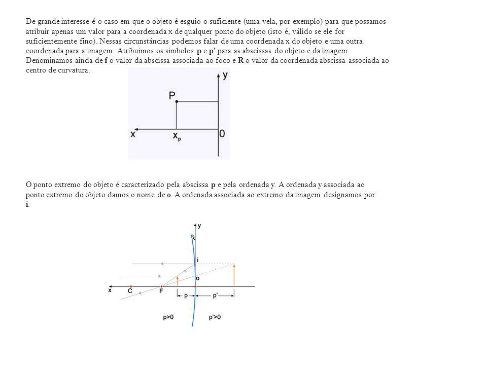 De grande interesse é o caso em que o objeto é esguio o suficiente (uma vela, por exemplo) para que possamos atribuir apenas um valor para a coordenada x de qualquer ponto do objeto (isto é, válido se ele for suficientemente fino). Nessas circunstâncias podemos falar de uma coordenada x do objeto e uma outra coordenada para a imagem. Atribuímos os símbolos p e p para as abscissas do objeto e da imagem. Denominamos ainda de f o valor da abscissa associada ao foco e R o valor da coordenada abscissa associada ao centro de curvatura.