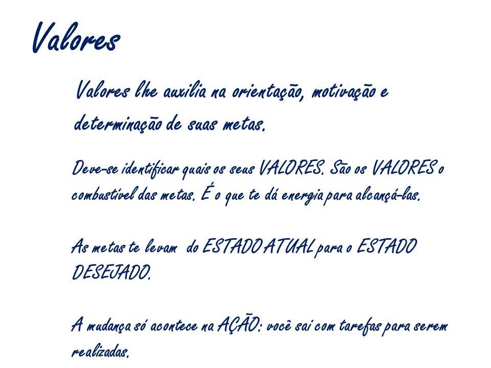 Valores Valores lhe auxilia na orientação, motivação e determinação de suas metas.