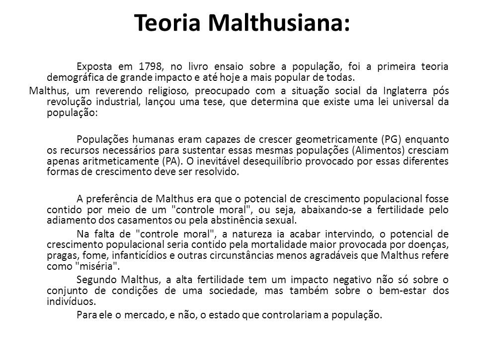 Teoria Malthusiana: