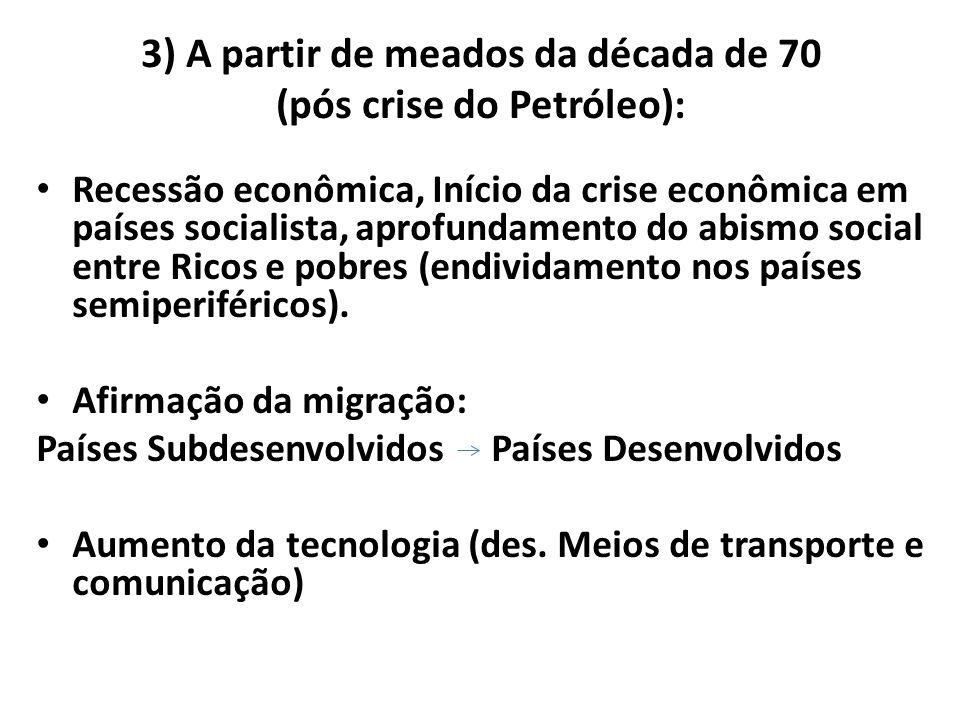 3) A partir de meados da década de 70 (pós crise do Petróleo):