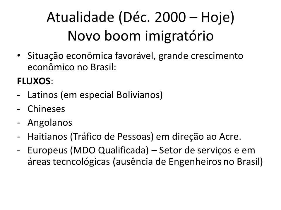 Atualidade (Déc. 2000 – Hoje) Novo boom imigratório