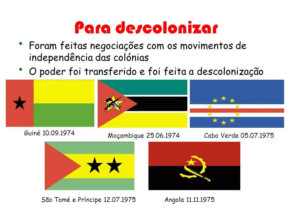 Para descolonizar Foram feitas negociações com os movimentos de independência das colónias. O poder foi transferido e foi feita a descolonização.