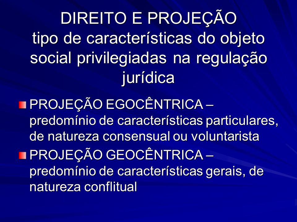 DIREITO E PROJEÇÃO tipo de características do objeto social privilegiadas na regulação jurídica