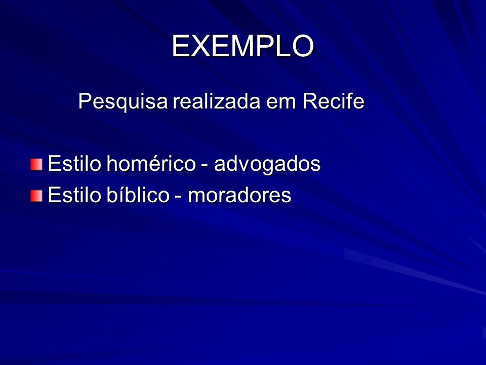EXEMPLO Pesquisa realizada em Recife Estilo homérico - advogados