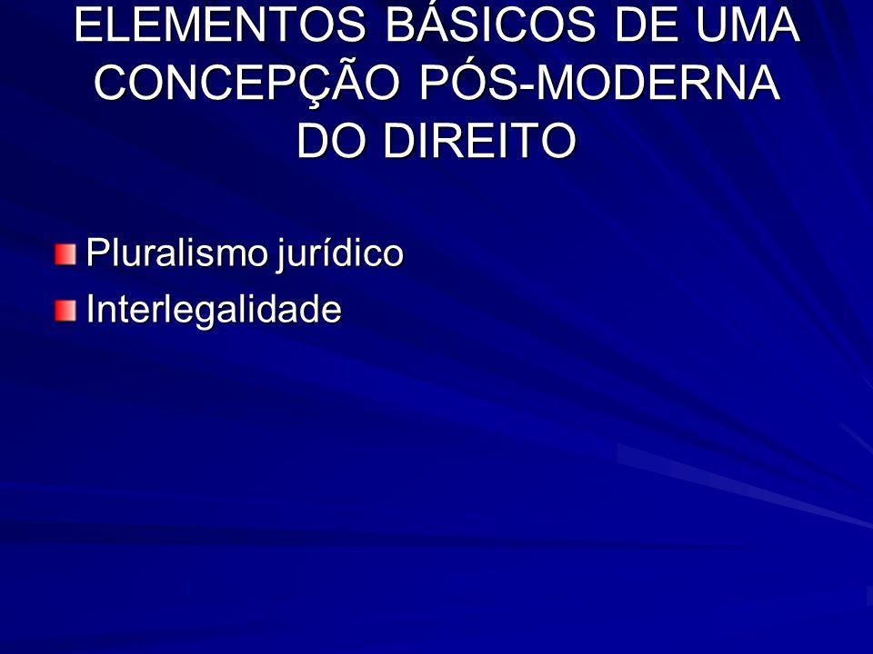 ELEMENTOS BÁSICOS DE UMA CONCEPÇÃO PÓS-MODERNA DO DIREITO