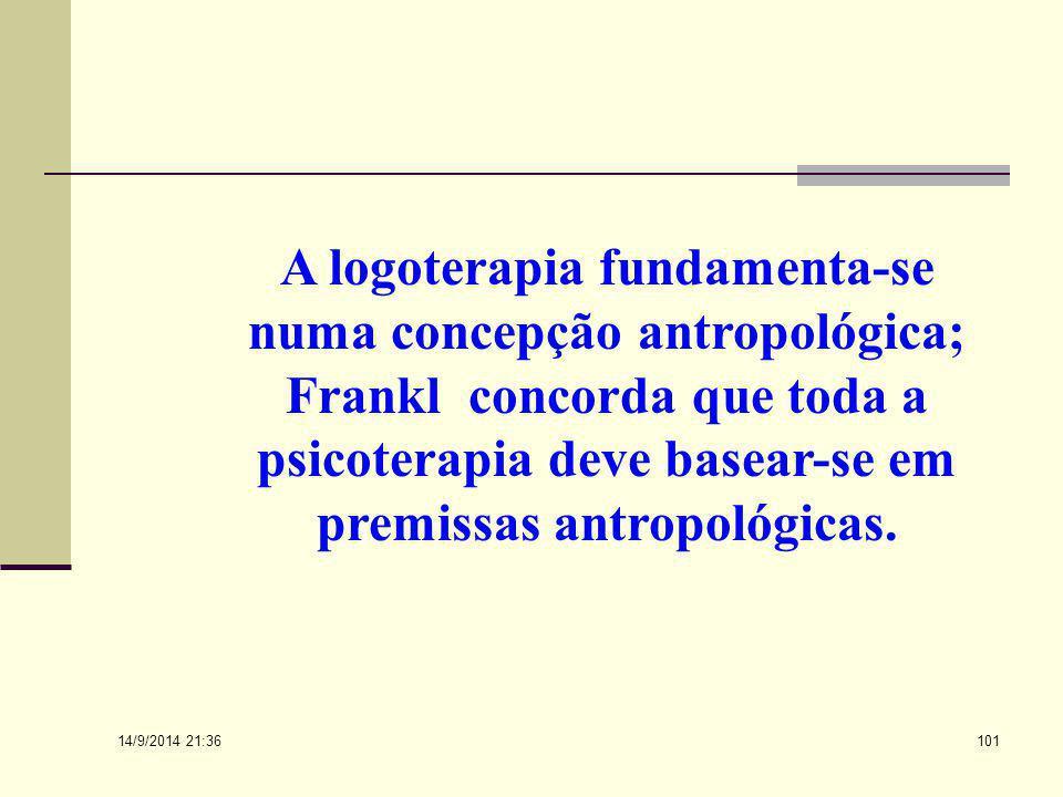 A logoterapia fundamenta-se numa concepção antropológica; Frankl concorda que toda a psicoterapia deve basear-se em premissas antropológicas.