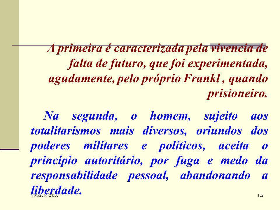 A primeira é caracterizada pela vivencia de falta de futuro, que foi experimentada, agudamente, pelo próprio Frankl , quando prisioneiro.