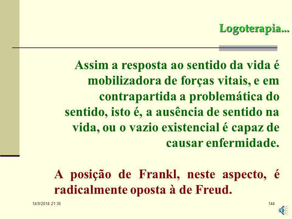 A posição de Frankl, neste aspecto, é radicalmente oposta à de Freud.