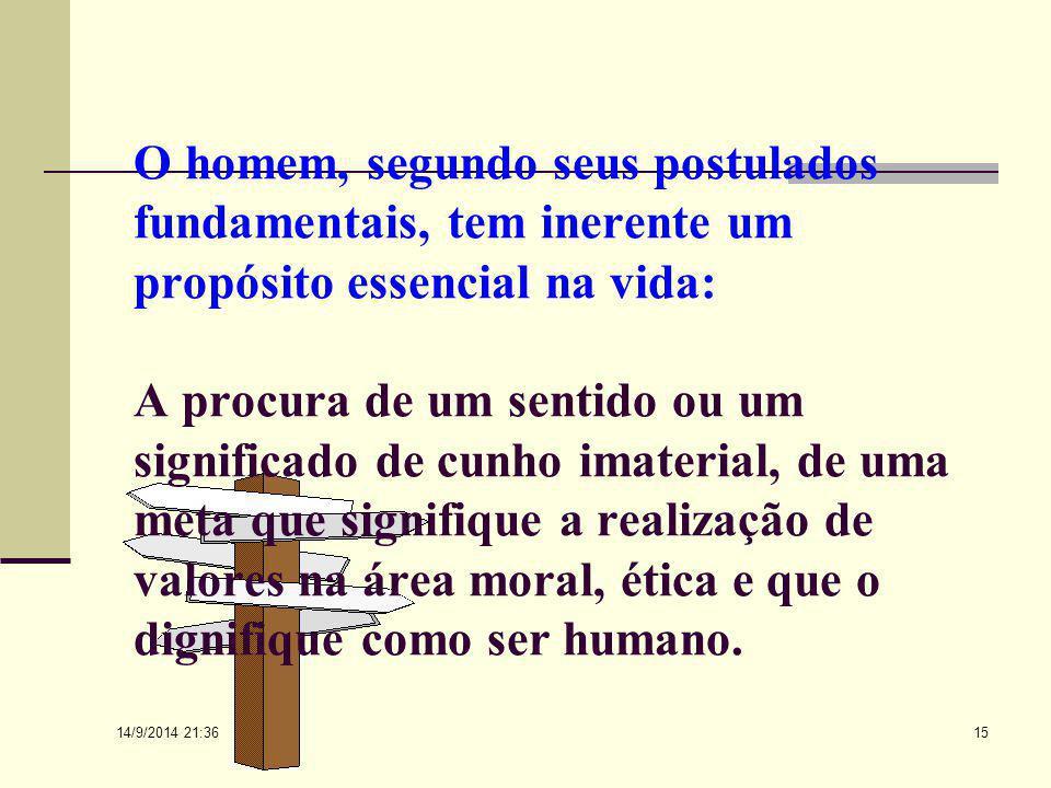O homem, segundo seus postulados fundamentais, tem inerente um propósito essencial na vida: A procura de um sentido ou um significado de cunho imaterial, de uma meta que signifique a realização de valores na área moral, ética e que o dignifique como ser humano.