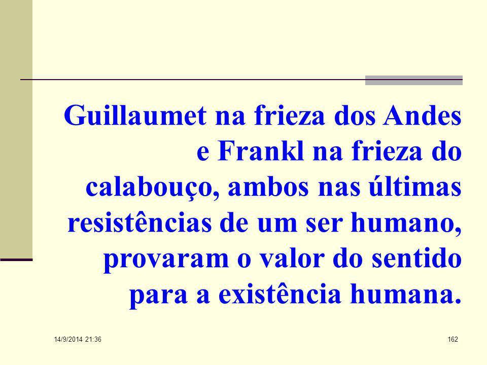 Guillaumet na frieza dos Andes e Frankl na frieza do calabouço, ambos nas últimas resistências de um ser humano, provaram o valor do sentido para a existência humana.
