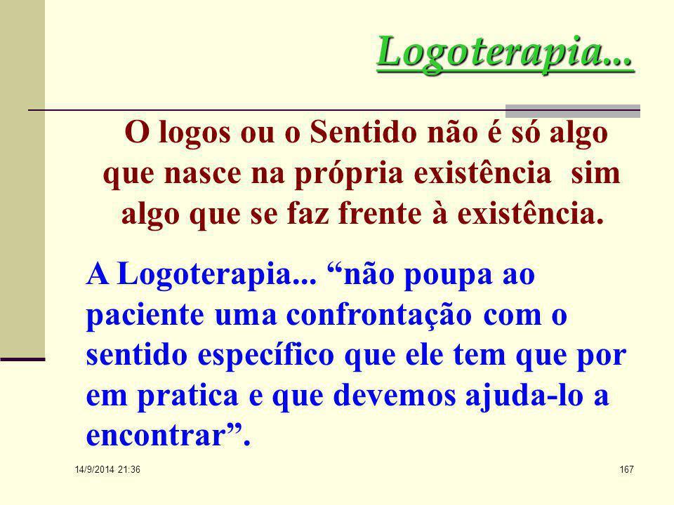 Logoterapia... O logos ou o Sentido não é só algo que nasce na própria existência sim algo que se faz frente à existência.