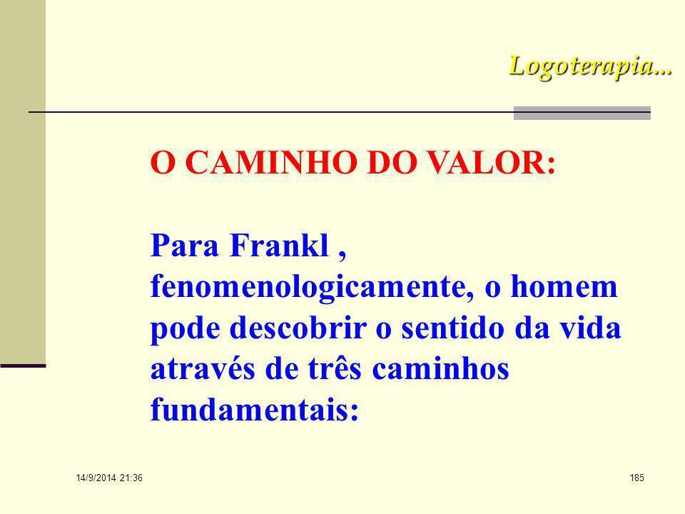 Logoterapia... O CAMINHO DO VALOR: