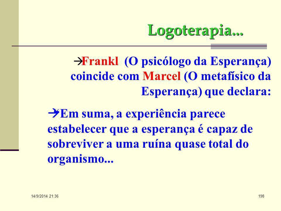 Logoterapia... Frankl (O psicólogo da Esperança) coincide com Marcel (O metafísico da Esperança) que declara: