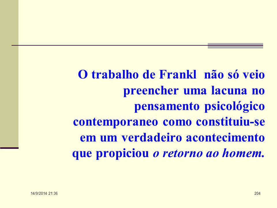 O trabalho de Frankl não só veio preencher uma lacuna no pensamento psicológico contemporaneo como constituiu-se em um verdadeiro acontecimento que propiciou o retorno ao homem.