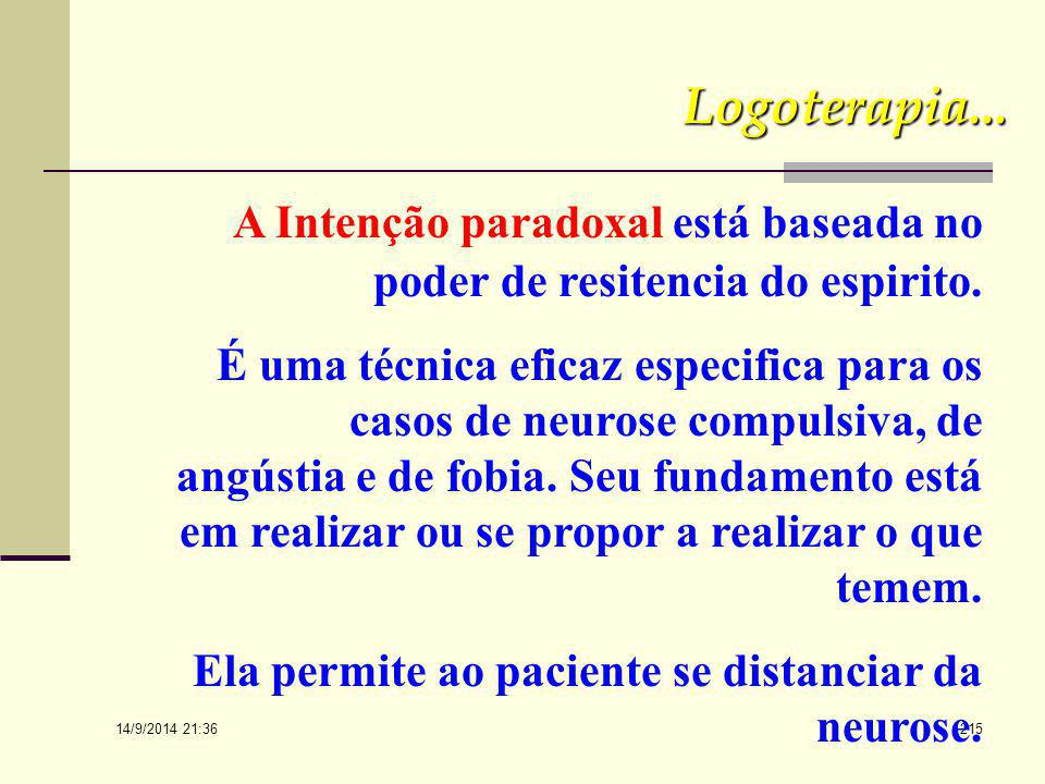 A Intenção paradoxal está baseada no poder de resitencia do espirito.