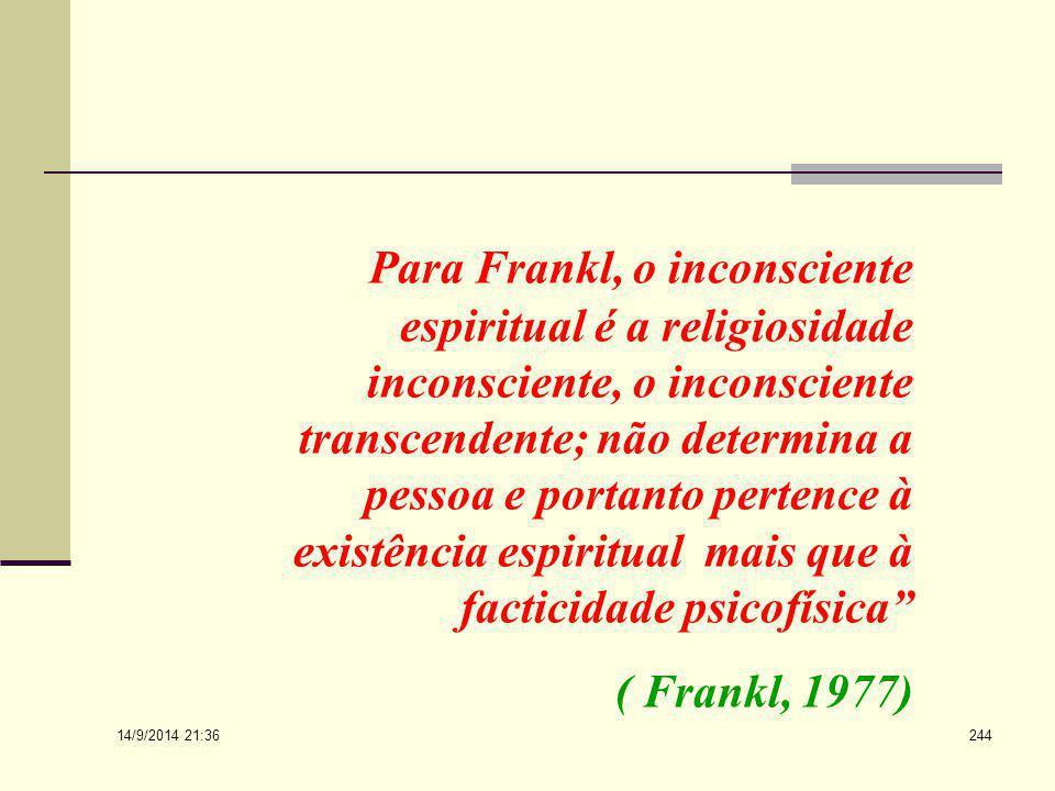 Para Frankl, o inconsciente espiritual é a religiosidade inconsciente, o inconsciente transcendente; não determina a pessoa e portanto pertence à existência espiritual mais que à facticidade psicofísica