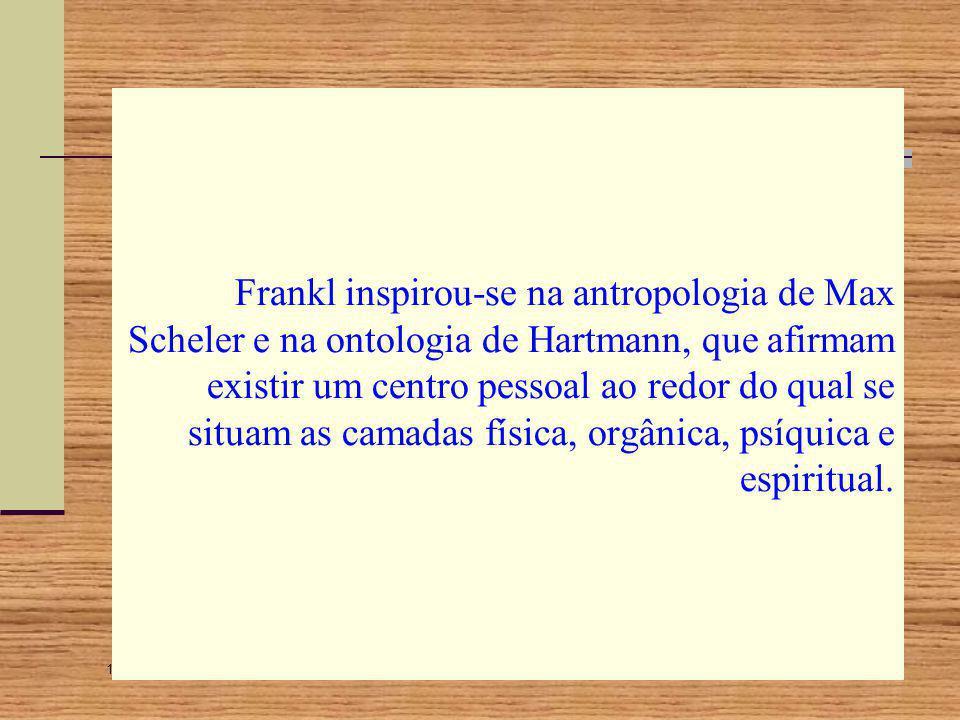 Frankl inspirou-se na antropologia de Max Scheler e na ontologia de Hartmann, que afirmam existir um centro pessoal ao redor do qual se situam as camadas física, orgânica, psíquica e espiritual.