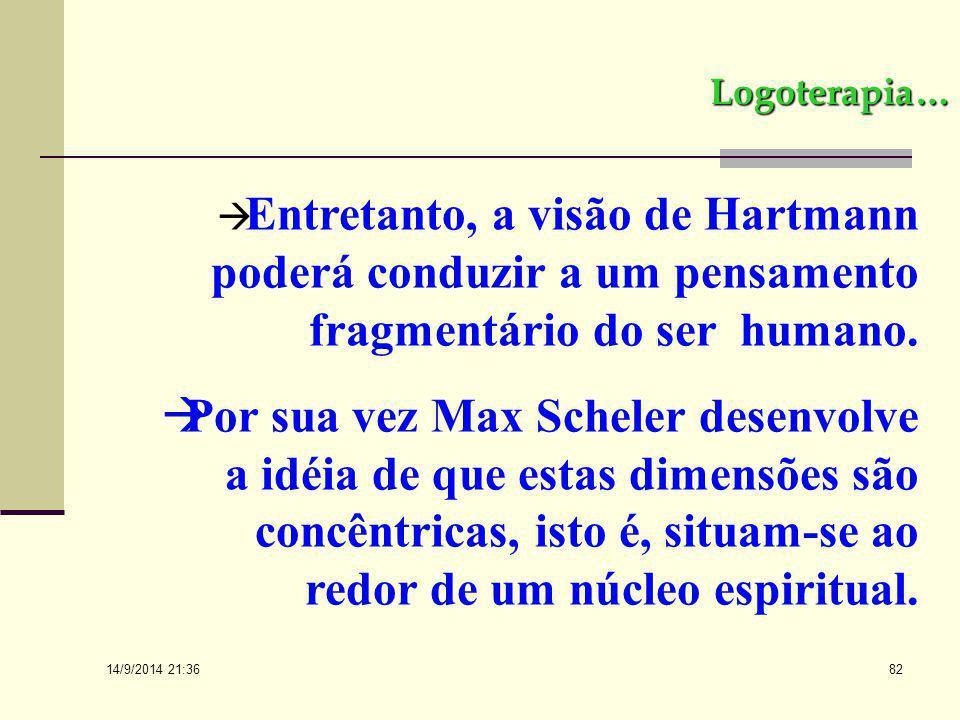 Logoterapia… Entretanto, a visão de Hartmann poderá conduzir a um pensamento fragmentário do ser humano.
