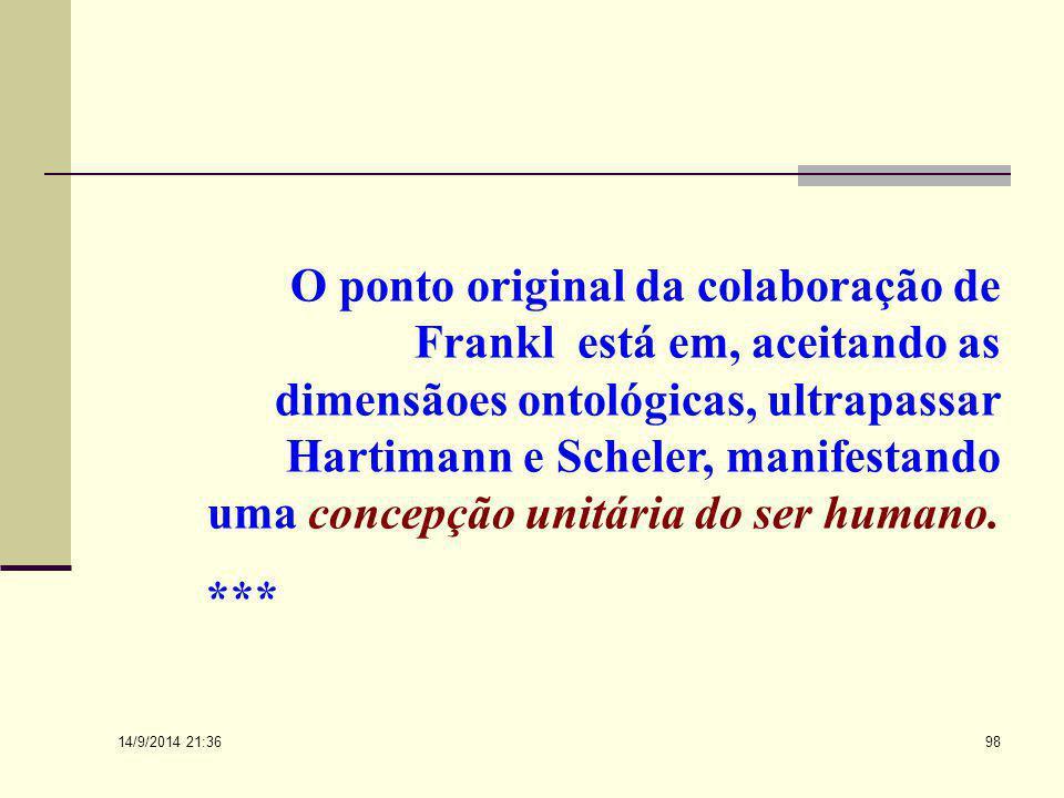 O ponto original da colaboração de Frankl está em, aceitando as dimensãoes ontológicas, ultrapassar Hartimann e Scheler, manifestando uma concepção unitária do ser humano.