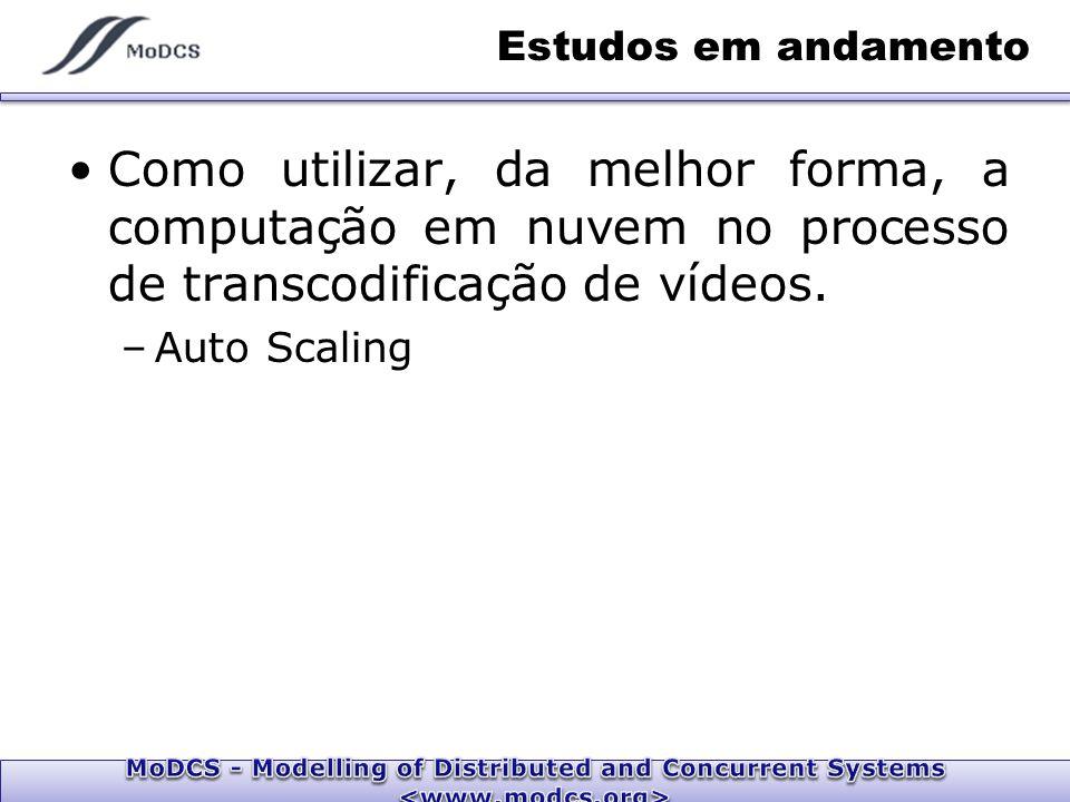 Estudos em andamento Como utilizar, da melhor forma, a computação em nuvem no processo de transcodificação de vídeos.
