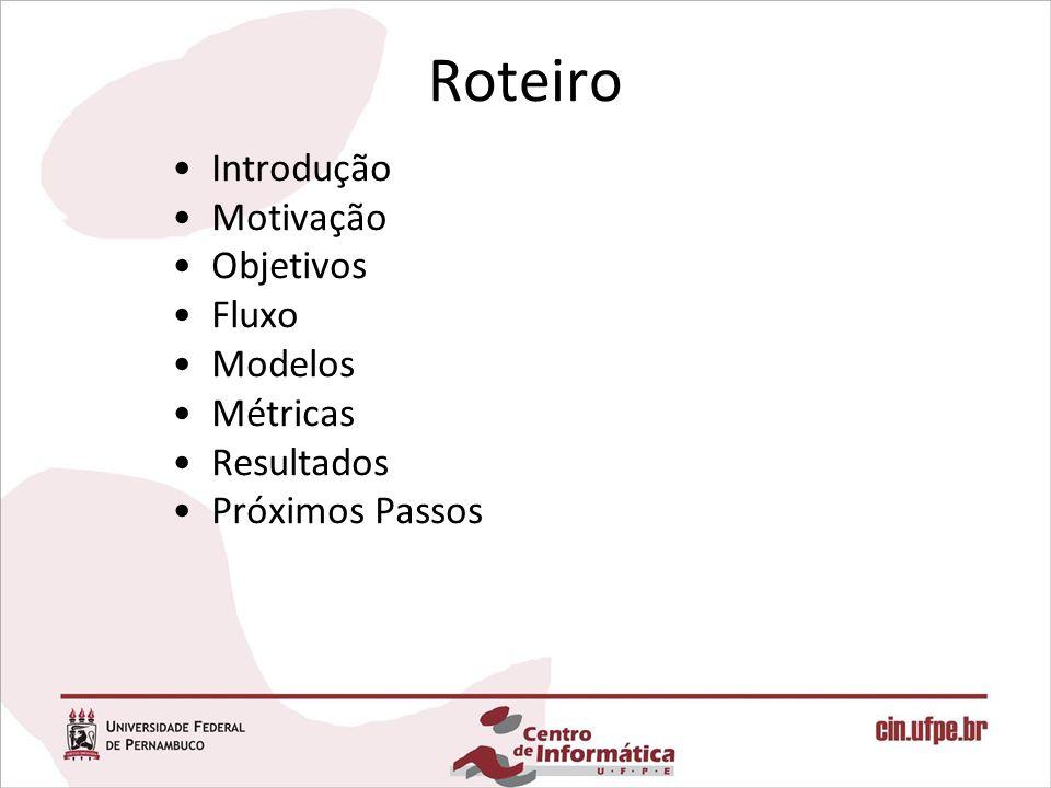 Roteiro Introdução Motivação Objetivos Fluxo Modelos Métricas