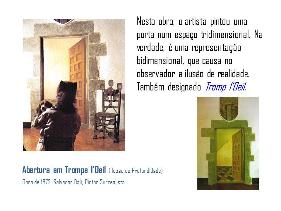 Nesta obra, o artista pintou uma porta num espaço tridimensional