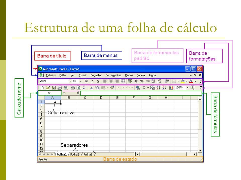 Estrutura de uma folha de cálculo