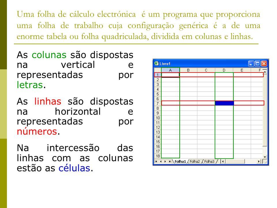 Uma folha de cálculo electrónica é um programa que proporciona uma folha de trabalho cuja configuração genérica é a de uma enorme tabela ou folha quadriculada, dividida em colunas e linhas.