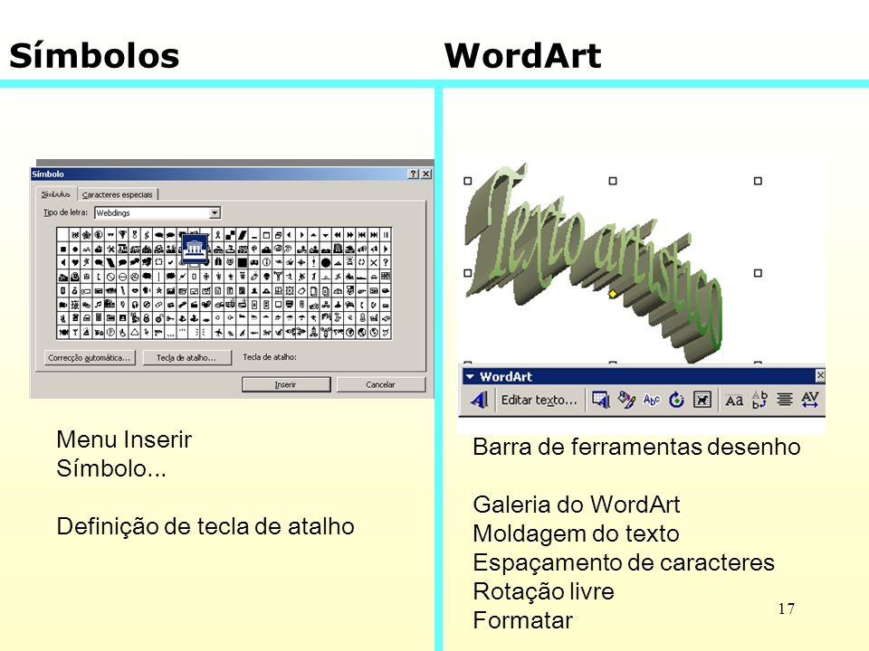 Símbolos WordArt Menu Inserir Barra de ferramentas desenho Símbolo...