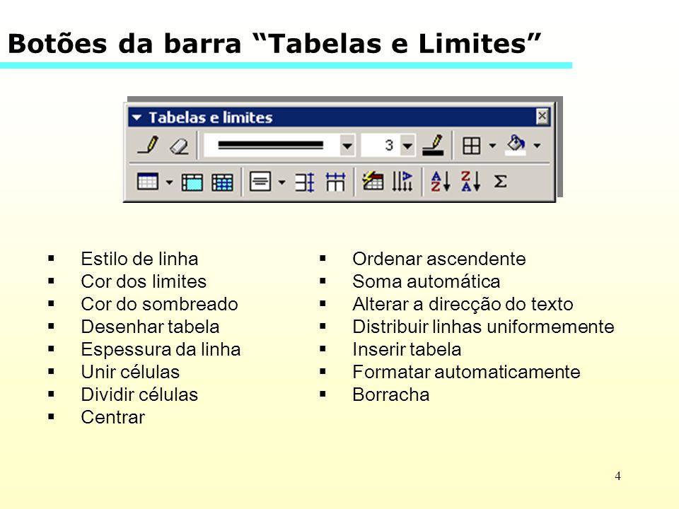 Botões da barra Tabelas e Limites