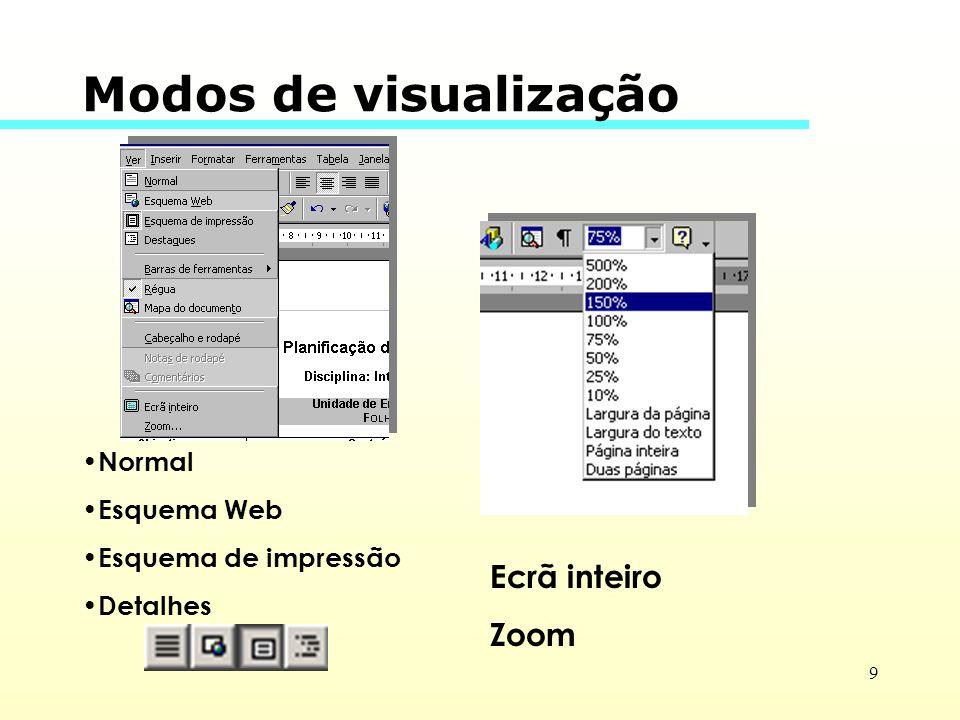 Modos de visualização Ecrã inteiro Zoom Normal Esquema Web