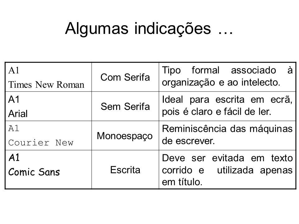 Algumas indicações … A1 Times New Roman Com Serifa